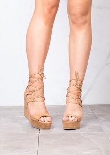 Lace Up Suede Platform Wedge Heeled Sandals Brown
