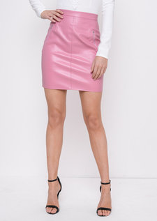 Leather Look Mini Skirt Pink