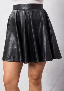 Faux Leather Skater Skirt Black