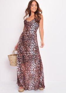 Leopard Print Shirred Back Maxi Dress Multi