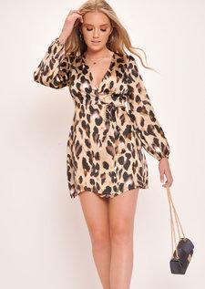 Leopard Wrap Over Skater Dress Multi