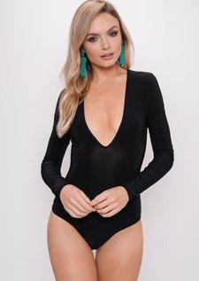 Long Sleeve Plunge Bodysuit Black