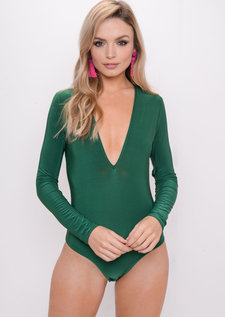 Long Sleeve Plunge Bodysuit Green