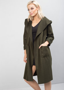 Longline Tie Waist Hooded Jacket Coat Khaki Green