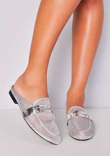 Mesh Slip On Backless Mule Loafers Silver