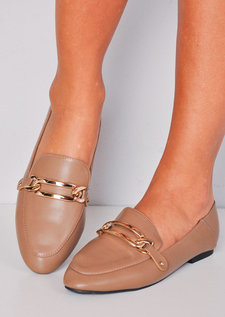 Metal Buckle Front Flat Loafers Taupe Brown