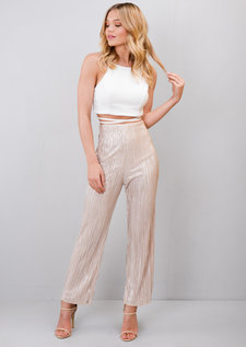 Metallic Cropped Pleated Culotte Trousers Gold