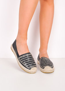 Metallic Embellished Flat Espadrilles Black