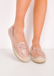 Metallic Embellished Flat Espadrilles Rose Gold