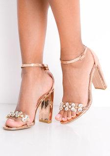 Metallic Embellished Perspex Strap Heeled Sandals Rose Gold