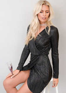Metallic Gold Pleated Wrap Over Shimmer Midi Dress Black