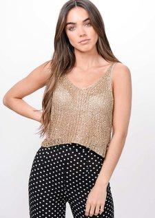 Metallic Knitted Sequin Crop Top Gold