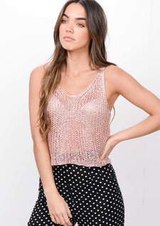 Metallic Knitted Sequin Crop Top Pink