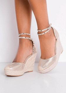 Metallic Studded Strap Espadrille Wedge Sandals Gold