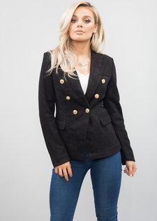 Military Style Tailored Blazer Jacket Black