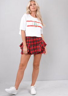 Multi Check Tartan Frill Mini Skort Red
