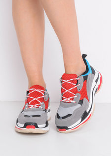 Multi Panel Chunky Trainers Red