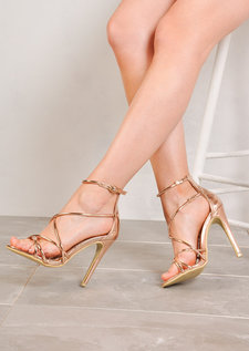 Multi Strap Stiletto High Heels Rose Gold Chrome