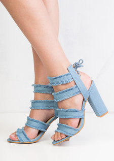 Multi Straps Distressed Denim Block Heel Sandals Light Blue