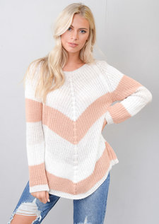 Chevron Stripe Knitted Sweater Jumper Pink