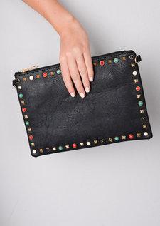 Multi Studded Clutch Bag Black