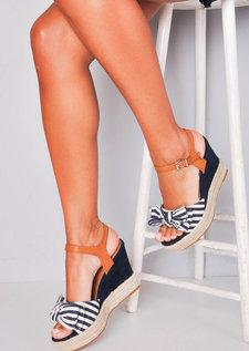 Nautical Bow Stripe Braided Cork Espadrille Wedge Sandals Navy Blue