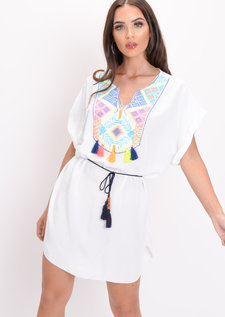 Neon Embroidered Tassel T-Shirt Dress White