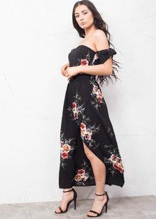 Off The Shoulder Floral Maxi Dress with Side Split Black