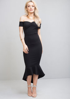 Off The Shoulder Mermaid Fishtail Bodycon Maxi Dress Black