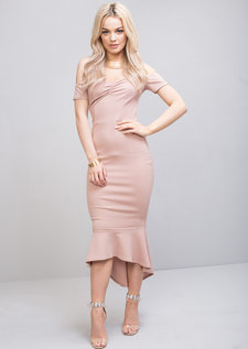 Off The Shoulder Mermaid Fishtail Bodycon Dress Pink