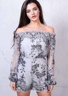 Off The Shoulder Sequin Detail Playsuit Grey Silver
