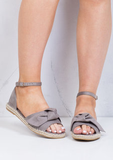 Open Toe Bow Suede Espadrille Sandals Grey