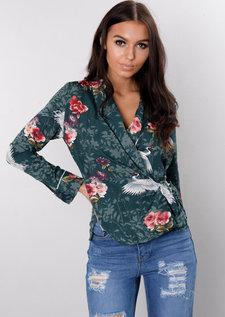Oriental Heron Print Wrap Over Pyjama Style Blouse Green