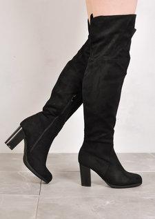 Over The Knee Block Heel Open Back Suede Heeled Boots Black