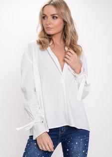Oversized Bow Tie Sleeve Shirt White