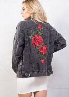 Oversized Floral Embroidered Ripped Boyfriend Denim Jacket Black