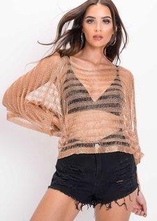 Oversized Metallic Knit Striped Top Rose Gold