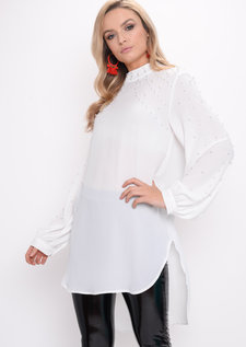 Oversized Pearl Embellished Longline Top White