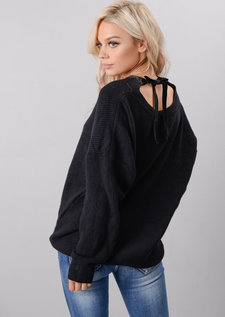 Oversized Tie Back Knitted Jumper Black
