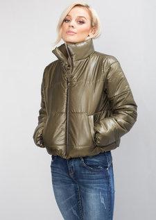 Padded Crop Puffer Jacket Khaki Green