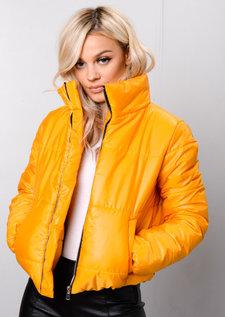 Padded Crop Puffer Jacket Mustard Yellow