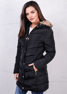 Padded Jacket Faux Fur Hooded Belted Puffer Long Coat Black