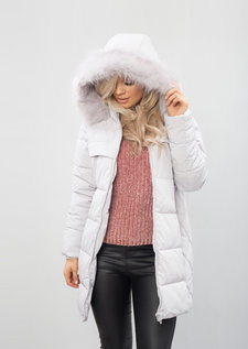 Padded Faux Fur Hooded Longline Puffer Coat Grey