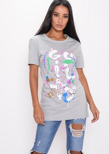 Paint Splatter Graffiti T-Shirt Grey