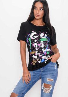 Paint Splatter Graffiti T-Shirt Black