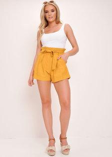 Paperbag High Waist Shorts Mustard Yellow