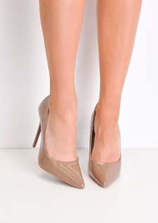 Patent Stiletto Pointed High Heels Brown