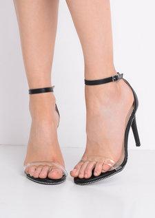 Perspex Strap Heeled Sandals Black