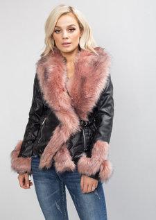 Pink Faux Fur Lined PU Biker Jacket Black
