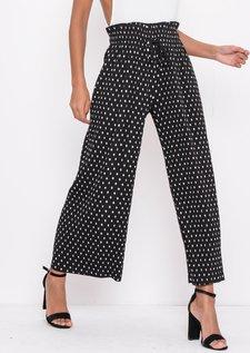 Polka Dot PleatedCropped Wide Leg Culotte Trousers Black